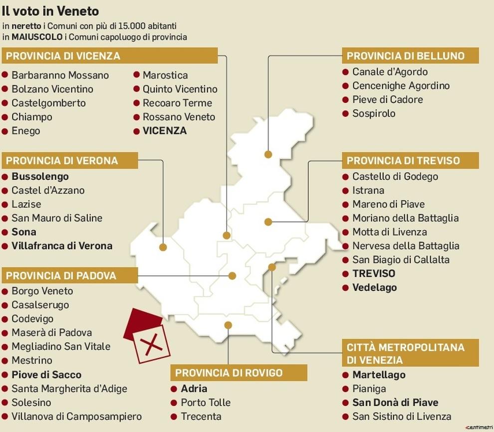Cartina Comuni Veneto.Il Voto In Veneto I Comuni Coinvolti E Le Sfide Mappa