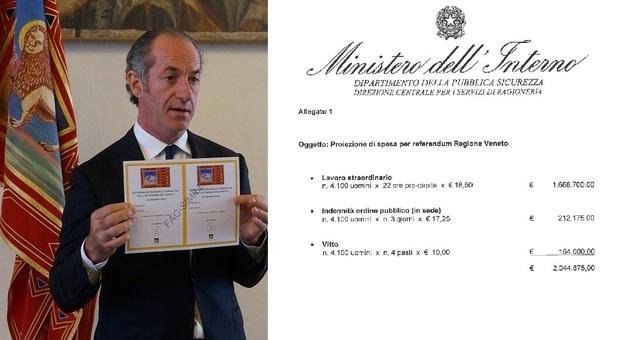 Luca Zaia, presidente della Regione Veneto, e il conto del Governo