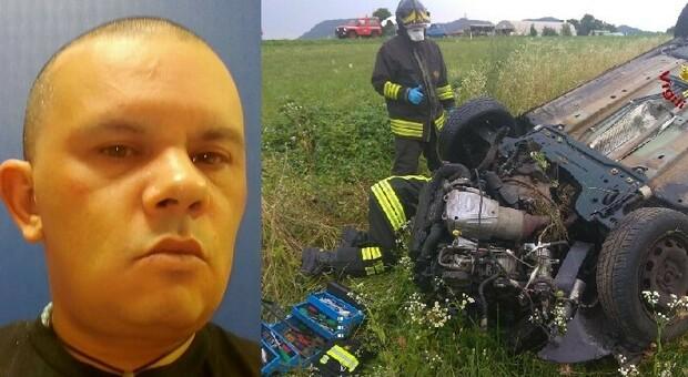 L'auto cappottata nella quale ha perso la vita un uomo di 41 anni