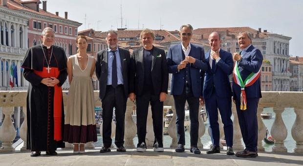 Inaugurazione del restauro del Ponte di Rialto con Renzo Rosso, Luigi Brugnaro e Luca Zaia