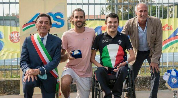 Da sin.: il sindaco Giordani, Tamberi e Bettella
