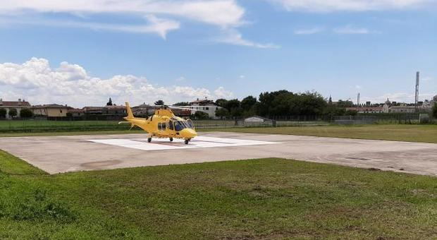 L'elisoccorso ha portato il ragazzo all'ospedale di Cittadella