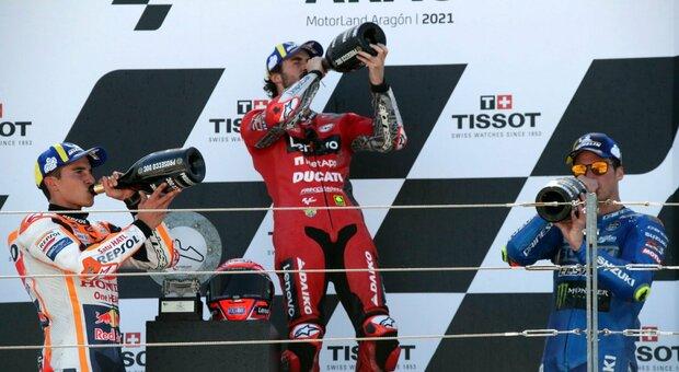 Gp d'Aragon: Bagnaia alla prima vittoria, male Quartararo e Valentino Rossi