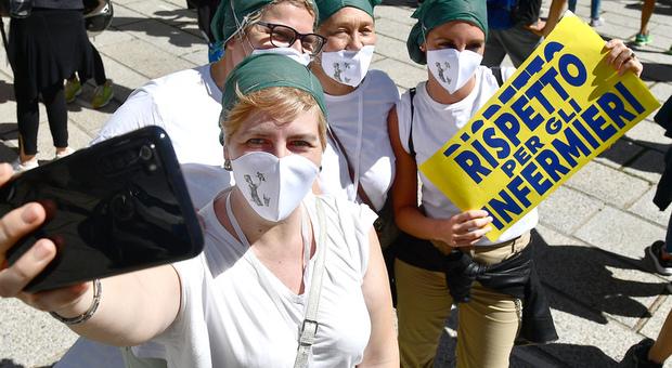 Una protesta di infermieri (foto di repertorio)