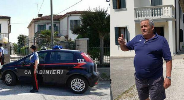 Saonara, i carabinieri davanti all'abitazione di Roberto Benetazzo