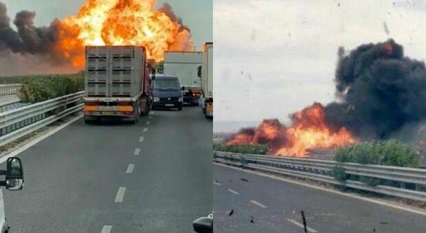 Autocisterna esplode sulla statale fra Foggia e Candela: trasportava Gpl, tragedia sfiorata