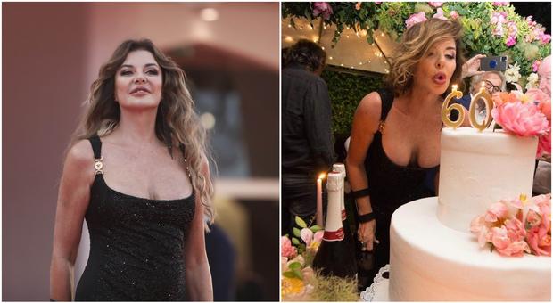 """Alba Parietti e l'abito """"riciclato"""" al Festival di Venezia: è lo stesso indossato alla festa dei 60 anni"""