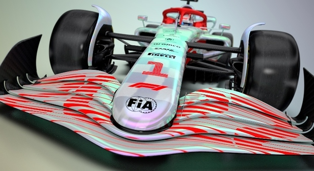 Una vista frontale del concept della monoposto di F1 per il Mondiale 2022