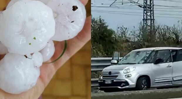 A1, Centinaia di auto distrutte dalla grandine