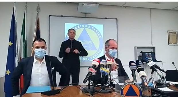 Luca Zaia in diretta oggi, 3 settembre, 2021, dalla sede della protezione civile di Marghera