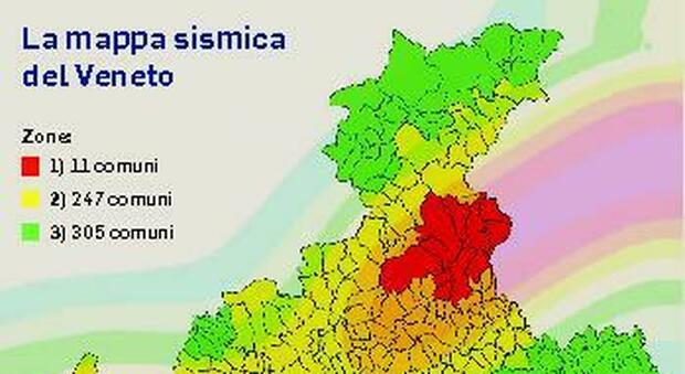 Terremoti, la mappa sismica del Veneto: l'area più pericolosa va dall'Alpago al Vittoriese