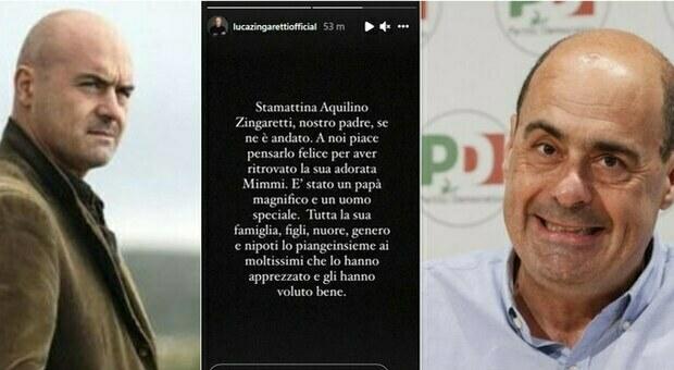 Zingaretti, morto il papà di Luca e Nicola. L'attore su Instagram: «Ritrova la sua adorata Mimmi»