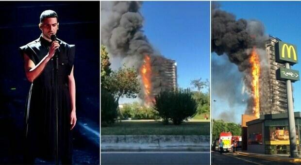 Mahmood tra i residenti del palazzo in fiamme a Milano: «Tra i primi a fuggire dal rogo»