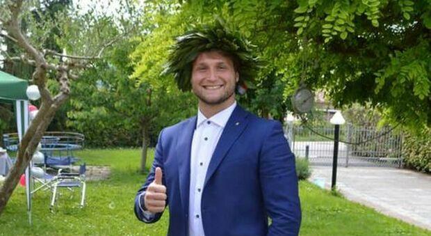 Filippo Cadorini neo laureato e tallonatore della Rugby Rovigo