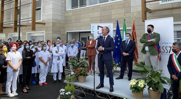 L'inaugurazione dell'ospedale di Asiago con la riapetura del punto nascite presente il governatore Zaia