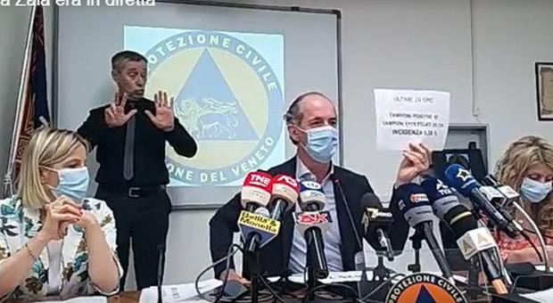 Luca Zaia in diretta oggi, 6 luglio, dalla sede della protezione civile di Marghera