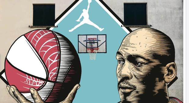 Uno dei murales che saranno realizzati, raffigura Michael Jordan e il basket