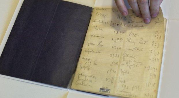 Uno dei taccuini che Kafka usava per imparare l'ebraico
