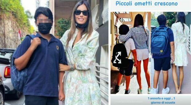Elisabetta Gregoraci, Nathan Falco torna a scuola: «Guardate quanto è cresciuto in un anno»