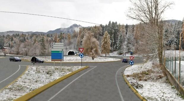 Così si presenterà il nuovo svincolo di Tai lungo la statale Alemagna: verrà bypassato il centro del paese
