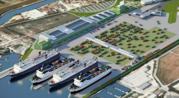 Fusina, il rendering del Terminal delle autostrade del mare per i traghetti