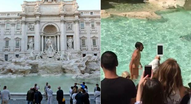 Fa il bagno nudo nella fontana di trevi fermato dai vigili i turisti filmano tutto - Tutto per il bagno milano ...