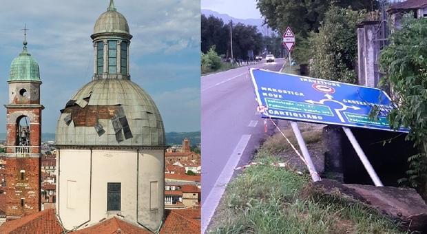 Vicenza, la cupola di Santo Stefano distrutta. Rosà, cartelli stradali divelti verso Nove e Marostica