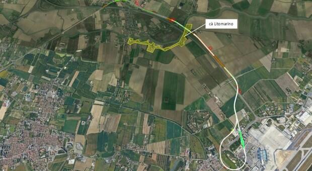 Il tracciato della Bretella e l'area di via Litomarino che sarebbe interessata