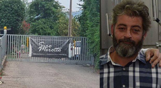 L'ingresso dell'azienda Siro Merotto e la vittima Mirco Merotto