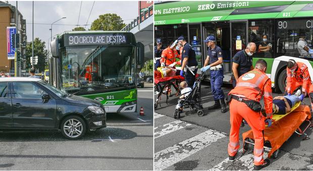Milano, filobus 90 si scontra con un'auto passata col rosso: una decina i feriti