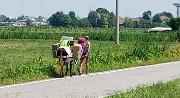 Cindy la 35enne francese con l'asino e il cane al suo passaggio a Grignano, frazione di Rovigo