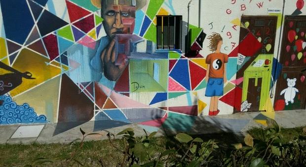 street art colora gli edifici degradati ecco il grande murales dei ragazzi. Black Bedroom Furniture Sets. Home Design Ideas