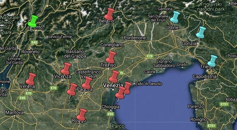 Cartina Friuli E Veneto.Mappa Del Contagio A Nordest Diretta I Focolai Del Veneto E Gli Infetti