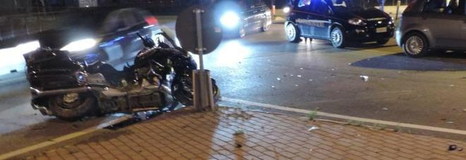 La Honda Gold Wing dopo l'incidente in cui Marino Corbin ha perso la vita