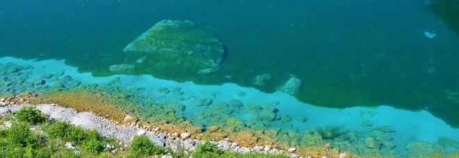Il lago color turchino incastonato tra i monti solo alghe for Laghetto alghe