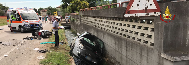 Una scena dell'incidente di oggi a Chiampo
