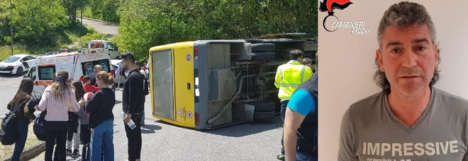 padova,si rovescia scuolabus: otto studenti feriti , l