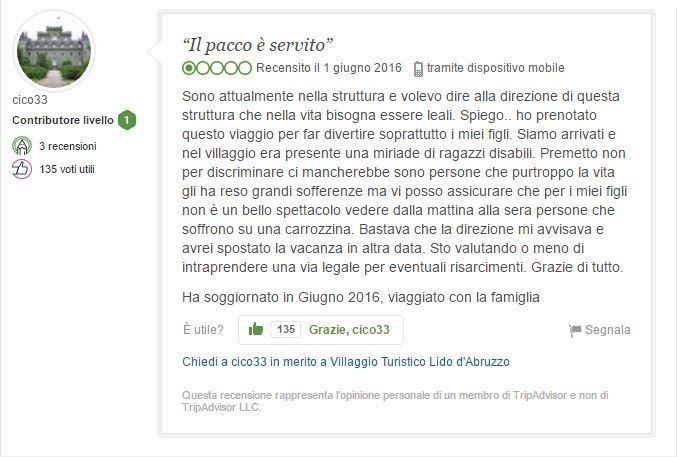 TripAdvisor, utente pubblica recensione negativa per i disabili presenti nel villaggio vacanze