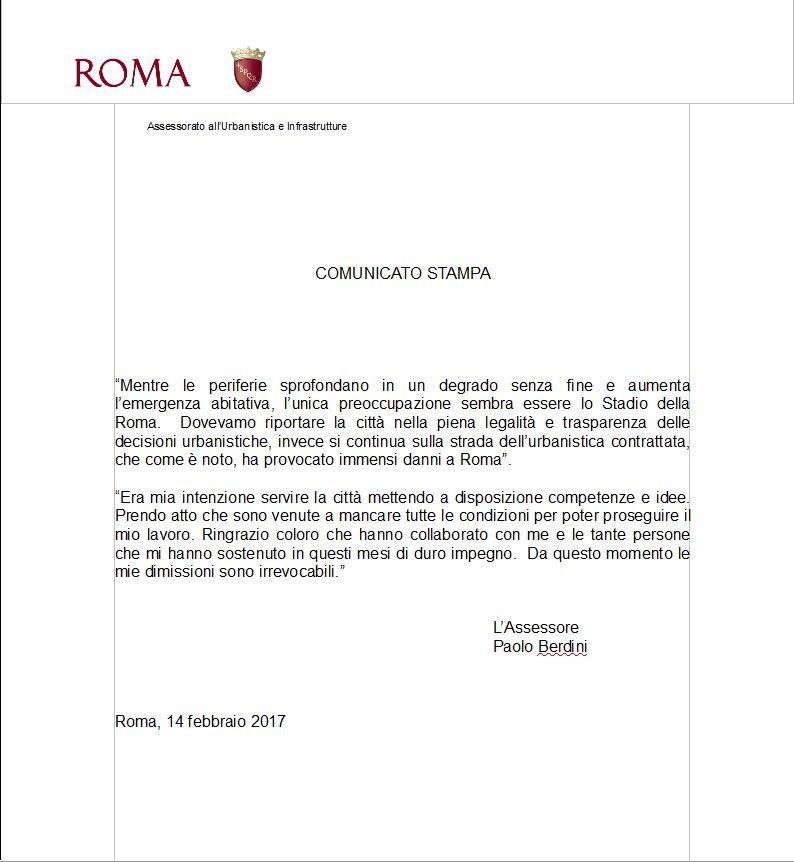 Lettere Di Lavoro: Roma, La Lettera Di Dimissioni Di Berdini