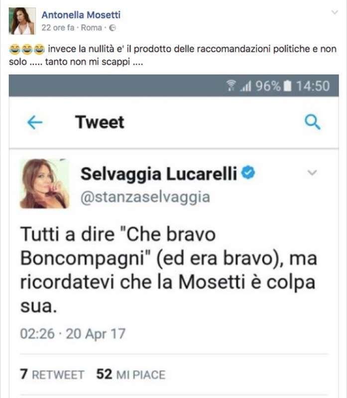 Antonella Mosetti vs Selvaggia Lucarelli: veleno, accuse di festini e querele