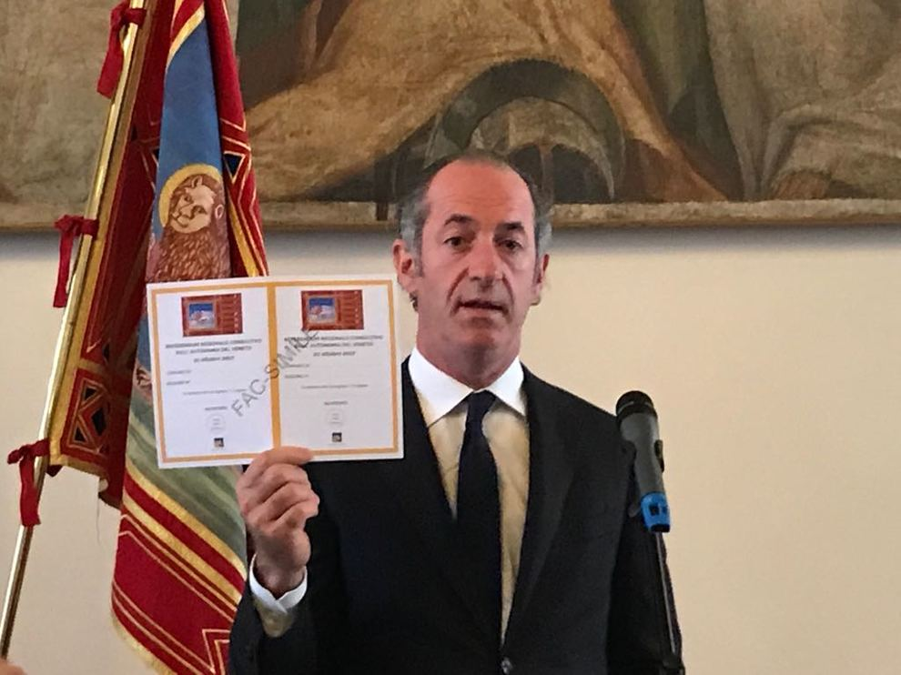 Referendum Veneto, Zaia: opportunità inedita in storia Repubblica