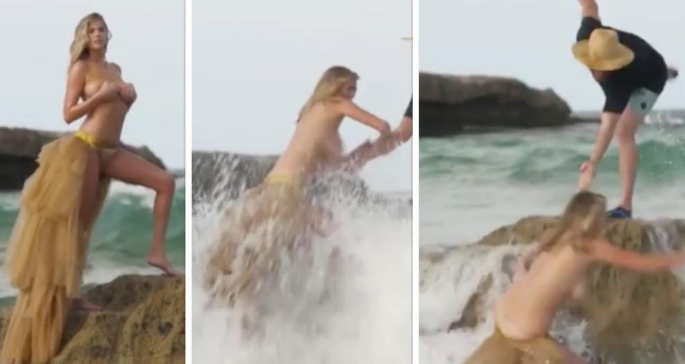 Terrore per Kate Upton travolta da un'onda anomala durante un servizio fotografico