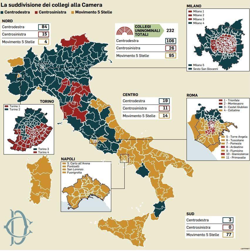 la mappa della nuova italia post voto
