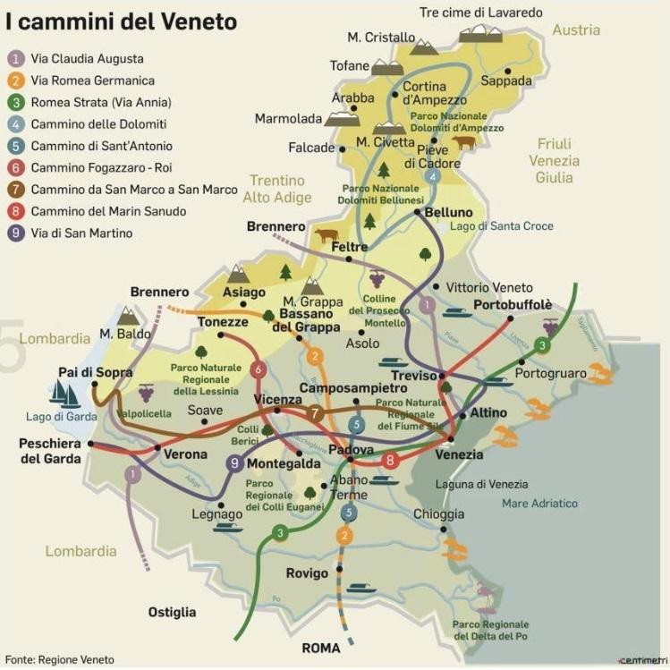 Cartina Dettagliata Veneto.I Cammini Del Veneto La Mappa Dei Percorsi A Piedi Nella Nostra Regione